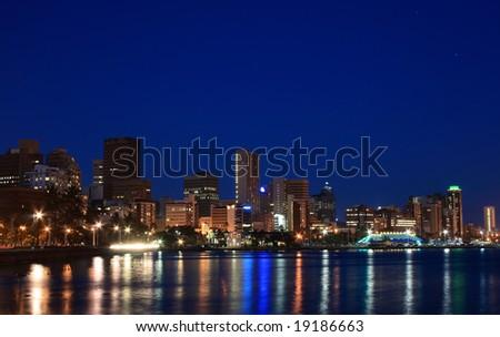 night view of coastal city Durban, South Africa - stock photo