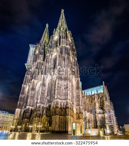 Night view of Cologne Cathedral - Germany, North Rhine-Westphalia - stock photo