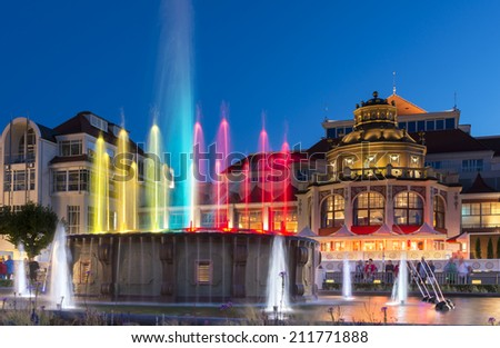 Night view of colorful fountain in Sopot at the Baltic seaside in Poland - stock photo