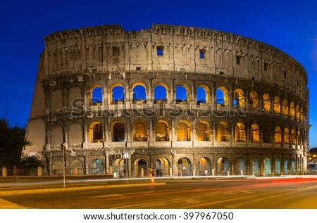 Night view of Colosseum in Rome, Italy