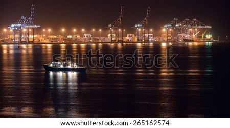 Night view of commercial container port