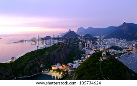 Night view of Copacabana beach and Botafogo in Rio de Janeiro - stock photo