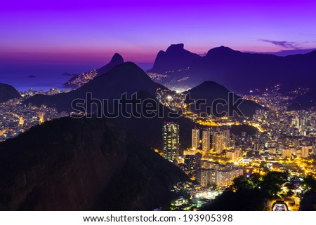 Night view of Copacabana beach and Botafogo in Rio de Janeiro. Brazil - stock photo