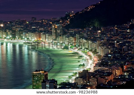 Night view of Copacabana beach. Rio de Janeiro. Brazil. - stock photo