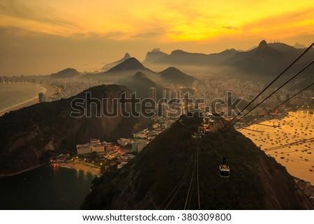 Night view of Copacabana beach, Urca and Botafogo from Sugar Loaf in Rio de Janeiro - stock photo