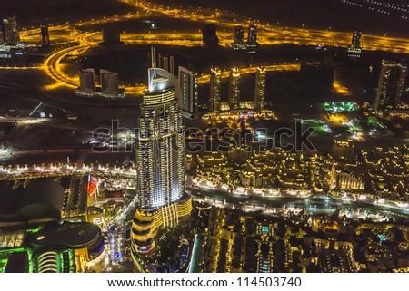Night view of Dubai from Burj Khalifa. Dubai, United Arab Emirates - stock photo
