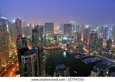 Night view of Dubai Marina - stock photo