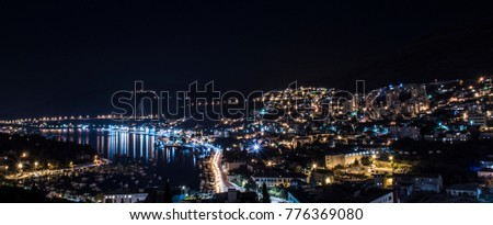 Night view of Dubrovnik city