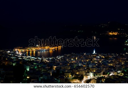 Night view of Ermoupoli in Syros island,Greece