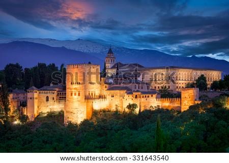 Night View of Famous Alhambra, European travel landmark, Spain - stock photo