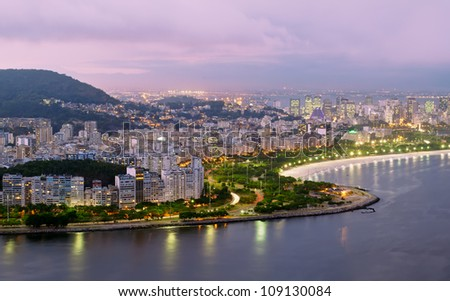 Night view of Flamengo beach and district in Rio de Janeiro - stock photo
