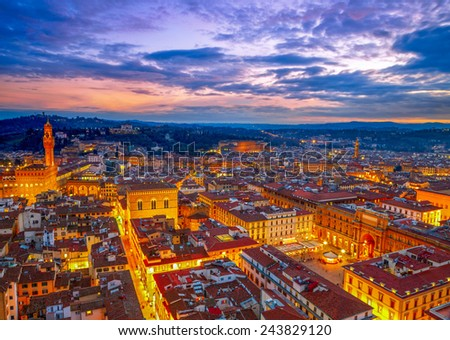 Night view of Florence, Italy. HDR - stock photo