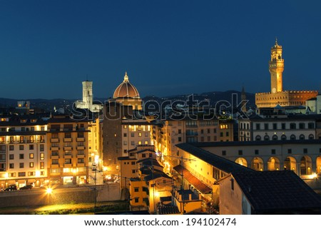 Night view of Florence, Tuscany, Italy
