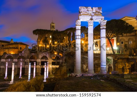 Night view of Forum of Caesar in Rome, Italy - stock photo
