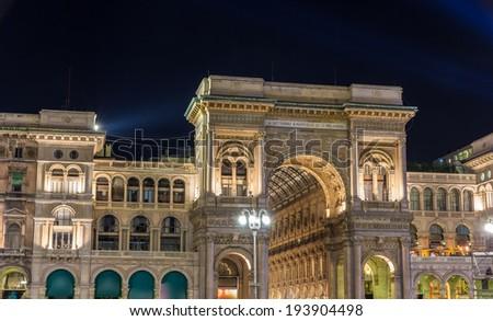 Night view of Galleria Vittorio Emmanuele II in Milan - stock photo