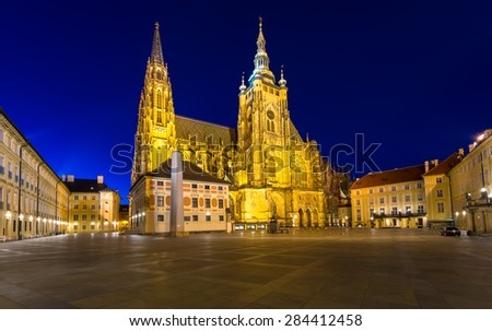 Night view of gothic St. Vitus Cathedral in Prague, Czech Republic - stock photo