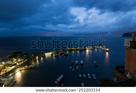 night view of grand marina in Sorrento, Italy