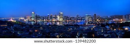night view of Gulangyu island - stock photo