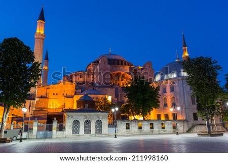 Night view of Hagia Sofia, Istanbul Turkey - stock photo