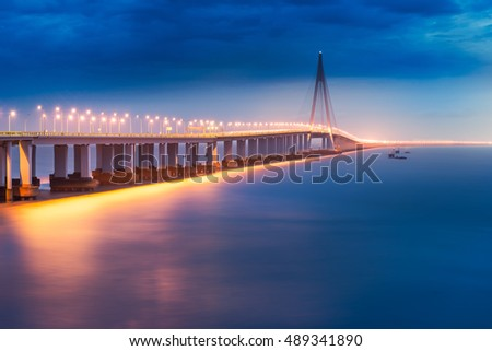 Night view of Hangzhou Bay Cross Sea Bridge in Zhejiang Province, China
