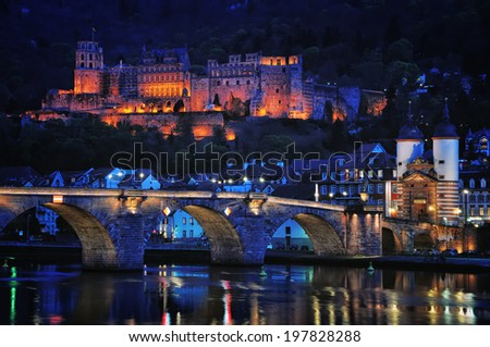 Night view of Heidelberg, Germany main sights - Renaissance style Castle and Carl Theodor Old Bridge over the Neckar river