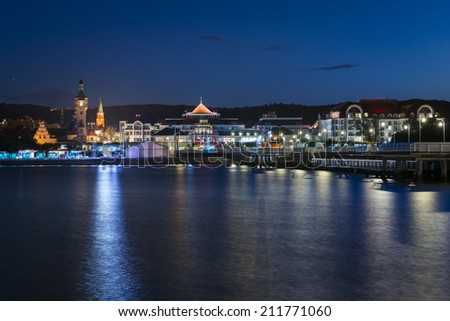 Night view of historic town Sopot a holiday destination in Poland