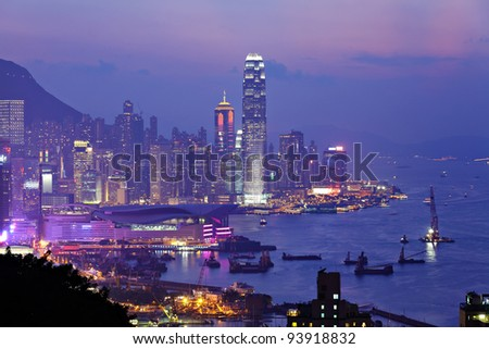 night view of Hong Kong - stock photo