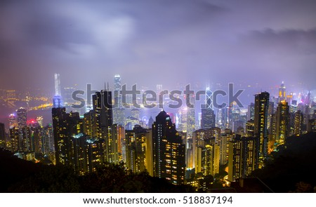 Night view of Hong Kong from Victoria Peak