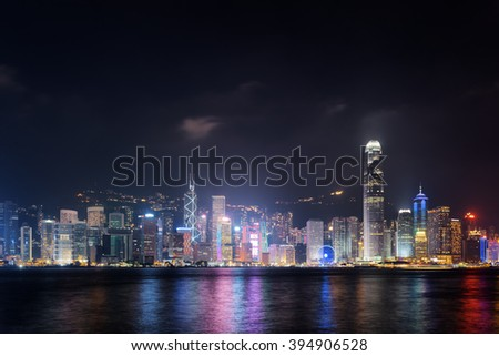 Night view of Hong Kong Island skyline across Victoria harbor from Kowloon side. Skyscrapers on waterfront in business center of Hong Kong. Hong Kong is a popular tourist destination of Asia.