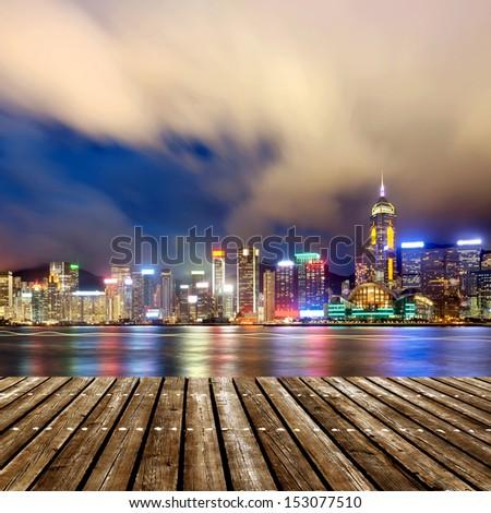 Night view of Hong Kong Victoria Harbor - stock photo