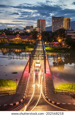 Night View of iron Bridge, Chiang mai, Thailand.  - stock photo