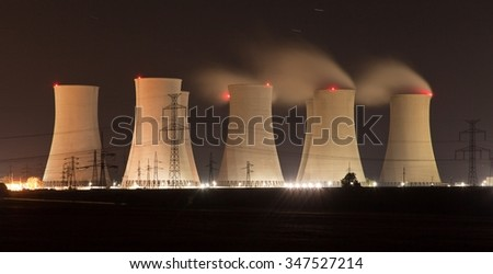 Night view of Jaslovske Bohunice power plant, Slovakia - stock photo