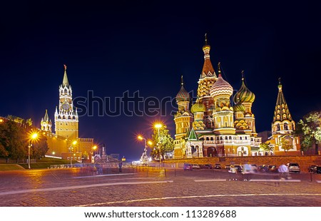 Night view of Kremlin and Saint Basil's Cathedral in Moscow - stock photo