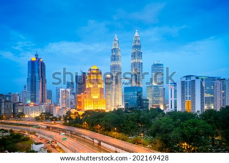 Night view of Kuala Lumpur skyline.  - stock photo