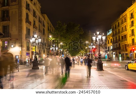 Night view of La Rambla street at the heart of Barcelona, Spain - stock photo