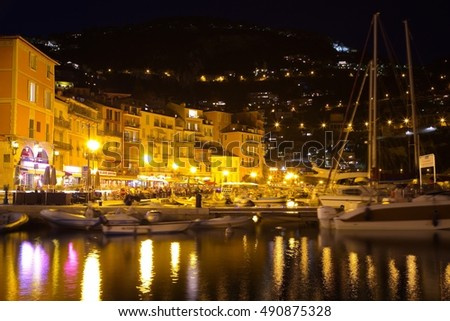 Night view of luxury resort Villefranche-sur-Mer on French Riviera at Mediterranean Sea, Cote d'Azur, France.