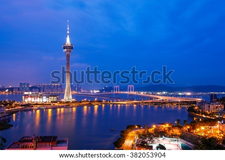Night view of Macau Tower in Twilight Time