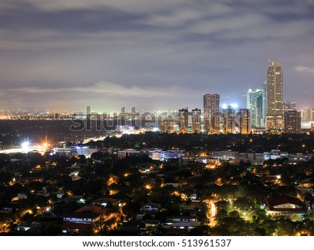 Night view of Makati, the business district of Metro Manila, Philippines