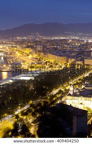 Night View of  Malaga Harbor, Costa del Sol. Andalusia, Spain - stock photo