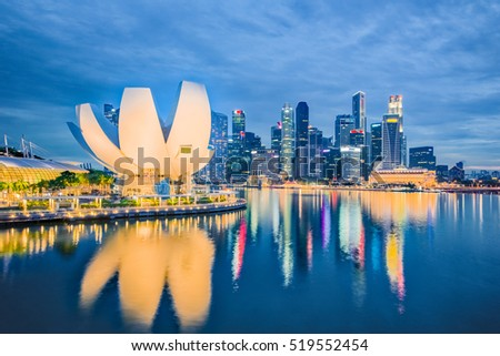 Night view of Marina Bay in Singapore City.