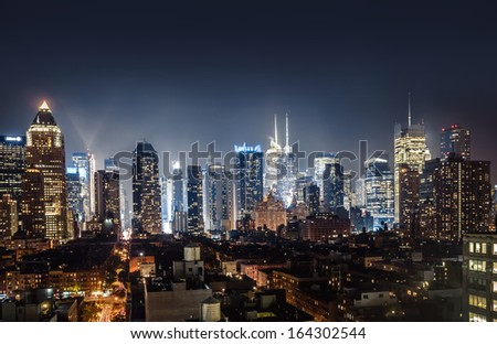 Night view of Midtown Manhattan taken from 10th avenue - stock photo
