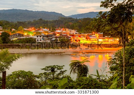 Night View Of Misahualli Harbor One Of The First Navigable Point In The Amazon Basin - stock photo