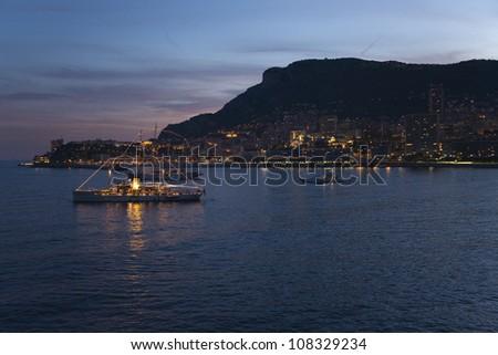 Night view of Monte-Carlo, Monaco - stock photo