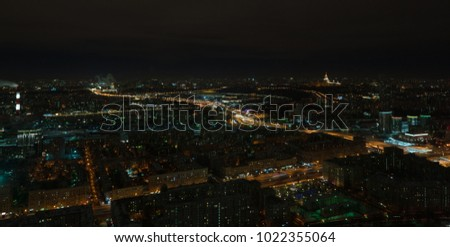 night view of Moscow and Third Ring Road
