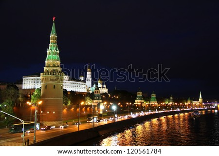 Night view of Moscow Kremlin in Russia - stock photo