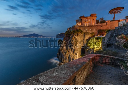 Night view of Mount Vesuvius and Naples. Italy.