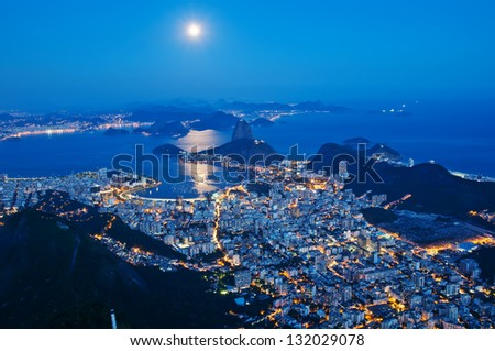 Night view of mountain Sugar Loaf and Botafogo in Rio de Janeiro - stock photo