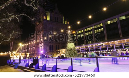 Night View of Natural History Museum, include Ice Rink