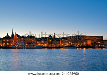 Night view of old buildings in central Stockholm, Sweden