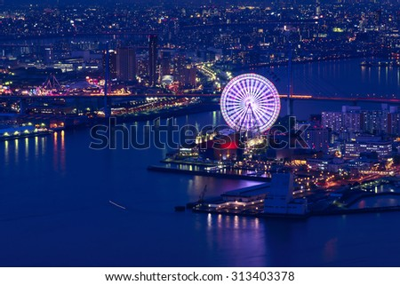Night view of Osaka from Cosmo tower - stock photo